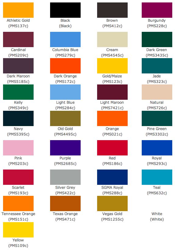 sublimation color size chart