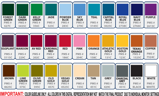 sublimation color chart